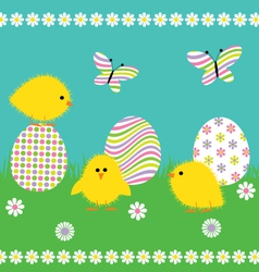 chicks and eggs vector image