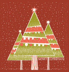 christmas card with christmas trees decoration on vector image