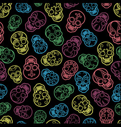 colorful mexican skulls seamless pattern vector image