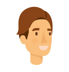 Colorful silhouette of man face with brown hair vector