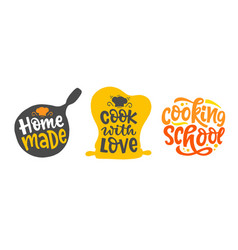 Cook with love home made bakery logo set vector