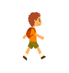 Cute boy walking with backpack vector