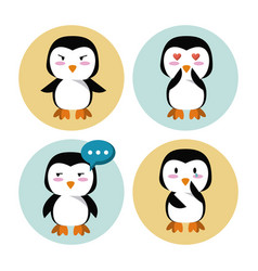 Cute penguin cartoon icons vector
