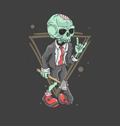 cute zombie rocker vector image