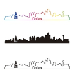 Dallas skyline linear style with rainbow vector