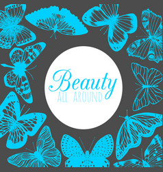 dark template with butterflies in hand-drawn style vector image