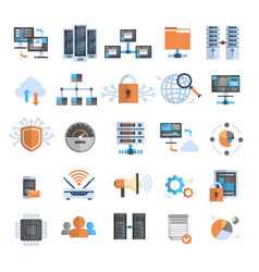 Data connection icons set cloud computer vector