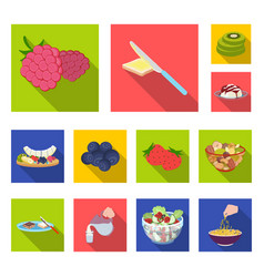 Dessert fragrant flat icons in set collection for vector