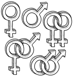 doodle gender sex symbols vector image