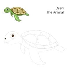 Draw sea animal turtle educational vector
