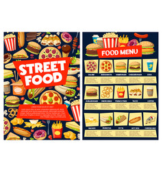 Fast food meal menu with burger pizza drinks vector