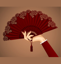 Female hand with open vintage fan isolated in vector
