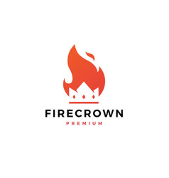 fire crown logo flame icon design inspirations vector image