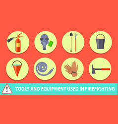 Firefighting poster depicting tools and equipment vector