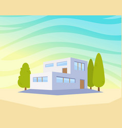 Flat style modern architecture house with trees in vector