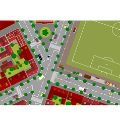 football field in town vector image