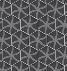 Geometrical ornament 3d hexagonal net on gray vector