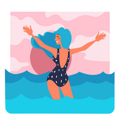 girl in swimsuit standing in sea at sunset summer vector image