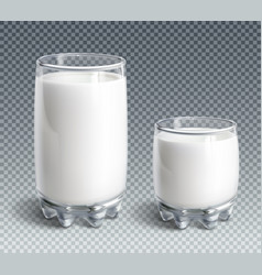 glass of milk on transparent background vector image