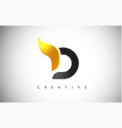 gold d letter wings logo design with golden bird vector image