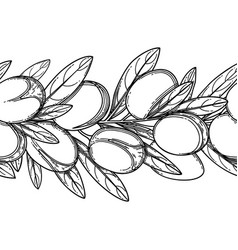 Graphic argan branches repeated seamless vector