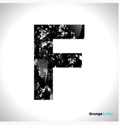 grunge letter f black font sketch style symbol vector image