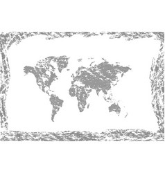grunge world mapold vintage map world vector image