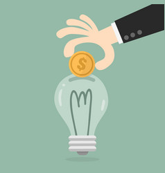 hand putting coin in light bulb vector image