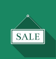 hanging sign with text sale icon with long shadow vector image