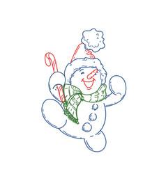 happy cute cartoon snowman vector image