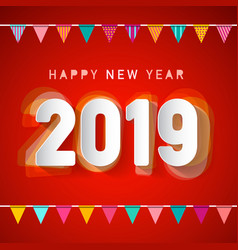 happy new year 2019 deign with colorful flags on vector image