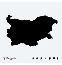 High detailed map of Bulgaria with navigation pins vector image