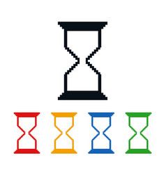 Hourglass icons pixel shaped time symbols vector