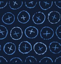 Indigo blue hand drawn button polka dot circles vector