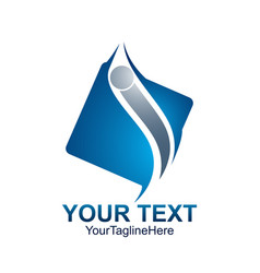 initial letter i logo template colored blue vector image