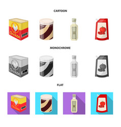 isolated object of can and food symbol collection vector image