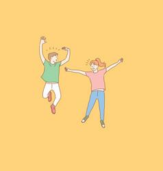 jumping kids success friendship childhood vector image