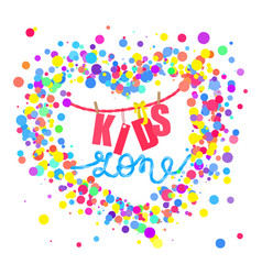 kids zone flat banner colorful bubbles vector image