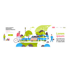 man cycling bike city park people activities green vector image