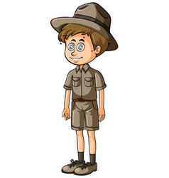 man in safari outfit with dizzy eyes vector image