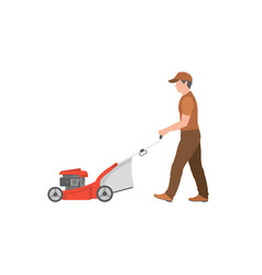 Man with red lawnmower vector