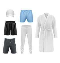 men clothing realistic mockups sport fitness wear vector image