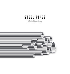 metal pipes stack banner template tube vector image