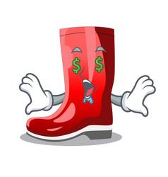 Money eye muddy farmer boots shape the cartoon vector