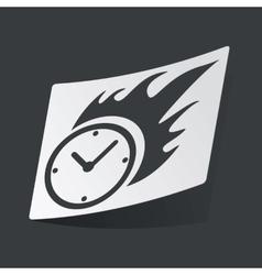 Monochrome burning clock sticker vector