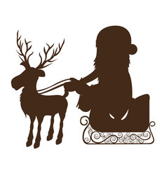 monochrome silhouette of reindeer with santa claus vector image