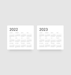 Monthly calendar template for 2022 and 2023 years vector