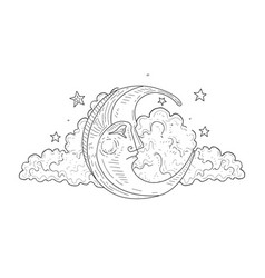 moon face and cloud vintage hand drawn vector image