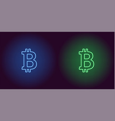 neon icon of blue and green bitcoin vector image