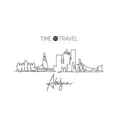 One single line drawing abidjan city skyline vector